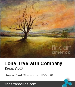 Lone Tree With Company by Sonia Palik - Painting - Acrylics