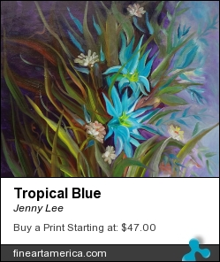 Tropical Blue by Jenny Lee - Painting - Oil On Canvas