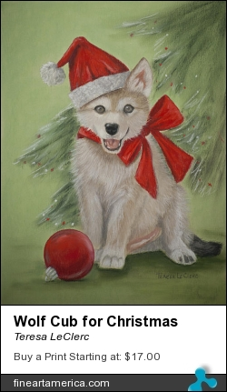 Wolf Cub For Christmas by Teresa LeClerc - Painting - Pastel