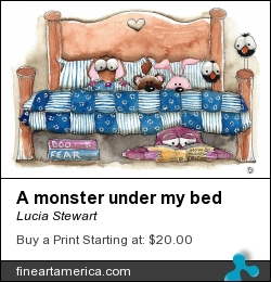 A Monster Under My Bed by Lucia Stewart - Painting - Watercolor And Pen