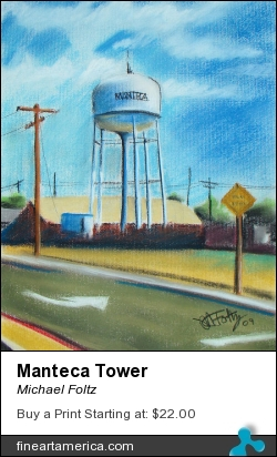 Manteca Tower by Michael Foltz - Painting - Pastel On Paper