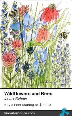 Wildflowers And Bees by Laurie Rohner - Painting - Watercolor On Paper