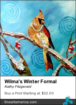 Wilma's Winter Formal by Kathy Fitzgerald - Painting - Acrylic Paint And Paper Collage Mixed Media On Cradled Wood Panel