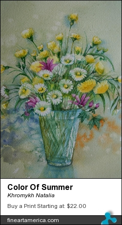 Color Of Summer by Khromykh Natalia - Painting - Watercolor,paper