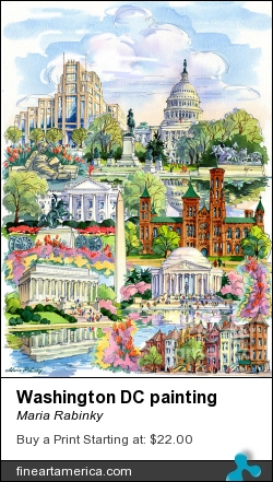 Washington Dc Painting by Maria Rabinky - Painting - Watercolor