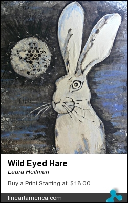 Wild Eyed Hare by Laura Heilman - Mixed Media - Mixed Media