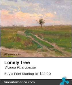 Lonely Tree by Victoria Kharchenko - Painting - Oil On Canvas