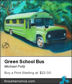 Green School Bus by Michael Foltz - Painting - Pastel On Paper