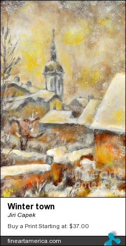 Winter Town by Jiri Capek - Painting - Acrylic Painting