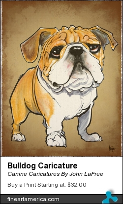 Bulldog Caricature by Canine Caricatures By John LaFree - Drawing - Prismacolor Markers And Color Stix On Bristol Paper