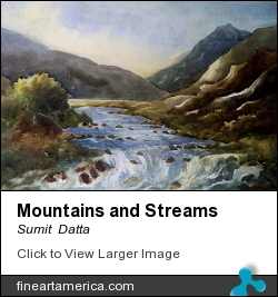 Mountains And Streams by Sumit  Datta - Painting - Watercolor