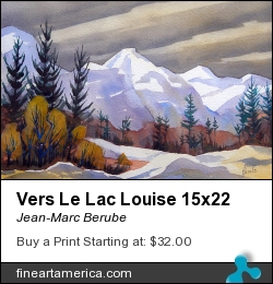 Vers Le Lac Louise 15x22 by Jean-Marc Berube - Painting - Water-colour