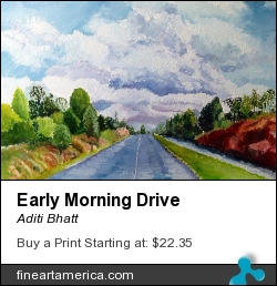 Early Morning Drive by Aditi Bhatt - Painting - Oil On Canvas