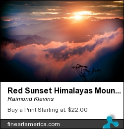 Red Sunset Himalayas Mountain Nepal by Raimond Klavins - Photograph