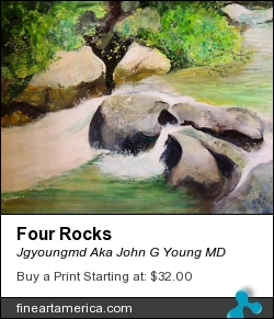 Four Rocks by Jgyoungmd Aka John G Young MD - Painting - Acrylic