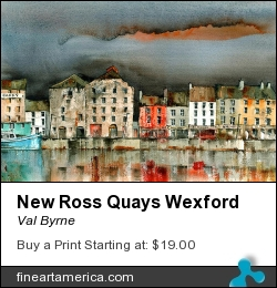 New Ross Quays Wexford by Val Byrne - Painting - Watercolour