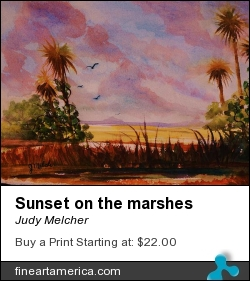 Sunset On The Marshes by Judy Melcher - Painting - Watercolor On 140 Lb. Cold Press Paper