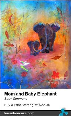 Mom And Baby Elephant by Sally Simmons - Painting - Mixed Media