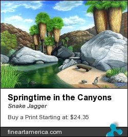 Springtime In The Canyons by Snake Jagger - Painting - Acrylic On Canvas