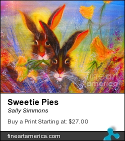Sweetie Pies by Sally Simmons - Painting - Mixed Media