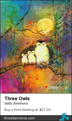 Three Owls by Sally Simmons - Painting - Mixed Media