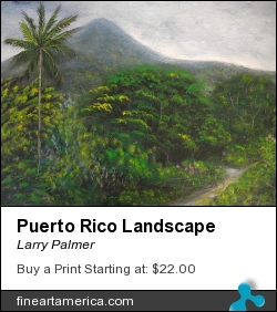 Puerto Rico Landscape by Larry Palmer - Painting - Acrylic On Paper