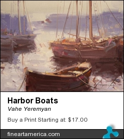 Harbor Boats by Vahe Yeremyan - Painting - Oil On Canvas