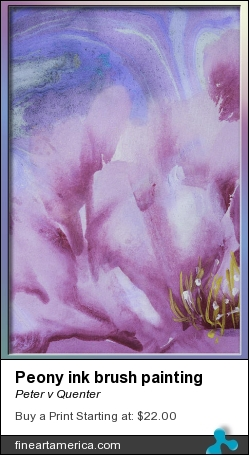 Peony Ink Brush Painting by Peter v Quenter - Mixed Media - Ink Brush Calligraphy With Pigments On Rice Paper - For Print