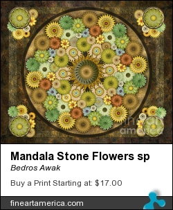 Mandala Stone Flowers Sp by Bedros Awak - Digital Art