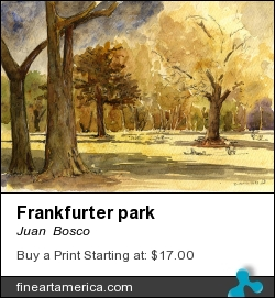 Frankfurter Park by Juan  Bosco - Painting - Watercolor On Paper