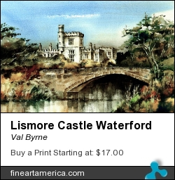 Lismore Castle Waterford by Val Byrne - Painting - Watercolour