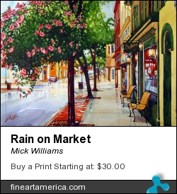 Rain On Market by Mick Williams - Painting - Watercolor