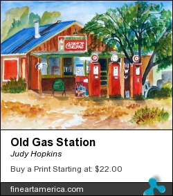 Old Gas Station by Judy Hopkins - Painting - Watercolor