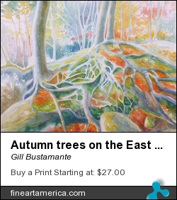 Autumn Trees On The East Grinstead Climbing Rocks by Gill Bustamante - Painting - Watercolour