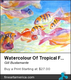 Watercolour Of Tropical Fish Under The Sea by Gill Bustamante - Painting - Oil On Canvas