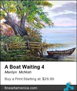 A Boat Waiting 4 by Marilyn  McNish - Painting - Acrylic On Canvas