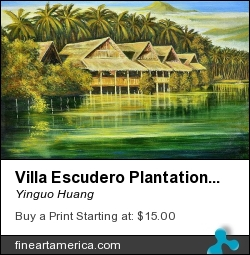 Villa Escudero Plantations by Yinguo Huang - Painting - Oil On Canvas