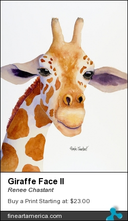 Giraffe Face II by Renee Chastant - Painting - Watercolor On Paper