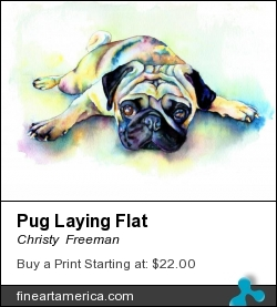 Pug Laying Flat by Christy  Freeman - Painting - Watercolor