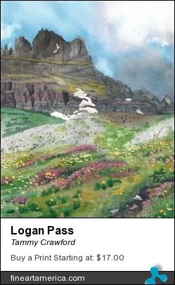 Logan Pass by Tammy Crawford - Painting - Watercolor