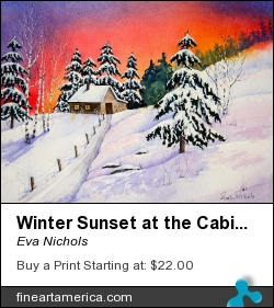 Winter Sunset At The Cabin by Eva Nichols - Painting - Watercolor
