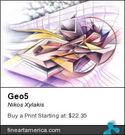 Geo5 by Nikos Xylakis - Drawing - Pencils On Paper