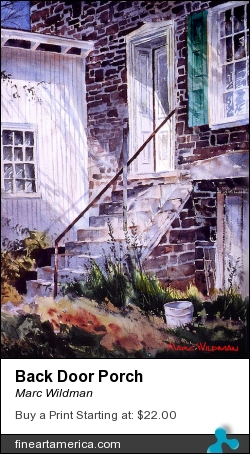 Back Door Porch by Marc Wildman - Painting - Watercolors