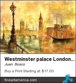 Westminster Palace London Thames by Juan  Bosco - Painting - Watercolor On Paper
