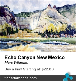 Echo Canyon New Mexico by Marc Wildman - Painting - Watercolors