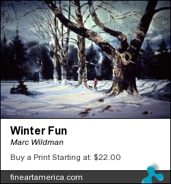 Winter Fun by Marc Wildman - Painting - Watercolors