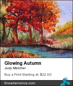 Glowing Autumn by Judy Melcher - Painting - Watercolor On 140 Lb. Cold Press Paper